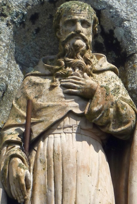 detail of a 17th century statue of Saint Tudy, artist unknown