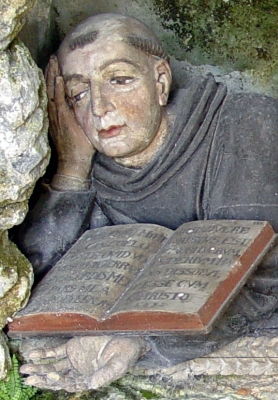 photograph of a detail of a statue of Saint Ursicinus of Saint-Ursanne, Felsen, Germany; sculptor unknown; photo taken October 2007 by Yesuitus2001; swiped off Wikipedia