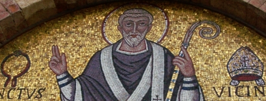 detail of a mosaic depicting San Vicinio, his mitre and iron collar; date and artist unknown; Basilica of San Vicinio, Sarsina, Italy; photographed on 9 September 2015 by Rapallo80; swiped from Wikimedia Commons