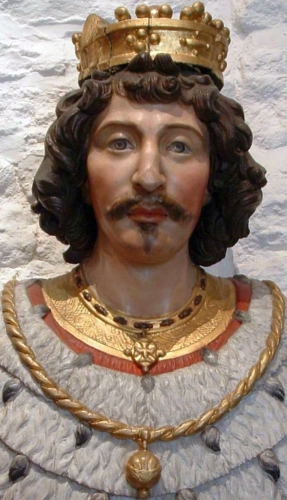 detail of an 18th century bust of Saint Vincent Madelgarus, artist unknown; Collégiale Saint-Vincent, Soignies, Belgium; photographed by Guy Debognies; swiped from WIkimedia Commons; click for source image
