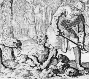 Saint Vitalis of Milan being buried alive, etching by Jan Luyken, late 17th century