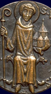 detail of a medallion of Saint Wandrille of Fontenelle, artist unknown; swiped from Santi e Beati; click for source image