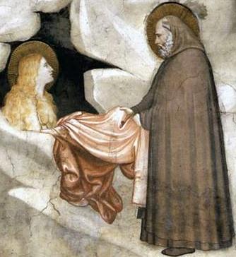Zosimus gir Maria av Egypt en kappe, maleri av Giotto i Assisi