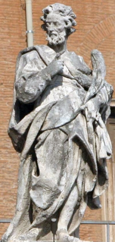 statue of Saint Zosimus of Rome by Annibale Casella, c.1703; colonnade of Saint Peter's Basilica, Rome, Italy