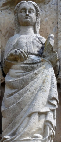 statue of Sainte-Honorine; date unknown, artist unknown; Church of Corbeil-Cerf; photographed on 9 August 2012 by Carnage 2000; swiped from Wikimedia Commons; click for source image