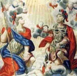 detail of an antique holy card of Saints Gratian and Felinus, date and artist unknown; swiped from Santi e Beati