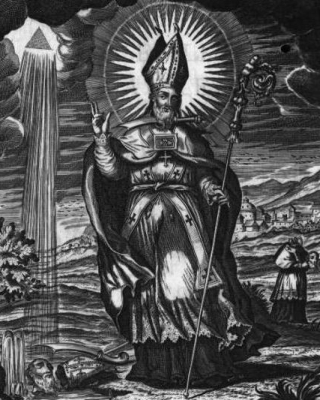 an engraving of Saint Laureano; 1758 by Fray Diego Tello Lasso de la Vega; from the book 'San Laureano Obispo y martir'; swiped from Wikimedia Commons; click for source i