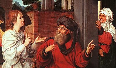 detail from 'Abraham, Sarah, and the Angel' by Jan Provost, c.1500, Musée du Louvre, Paris