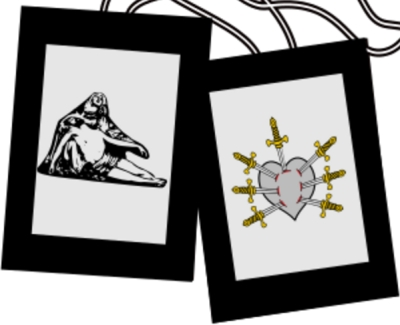Scapular of the Seven Dolors; image by Majella1851; swiped from Wikimedia Commons