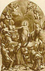 detail from a 1940's Italian holy card of the Seven Founders of the Servants of Mary, ar