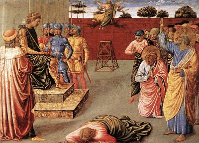 'Fall of Simon Magus' by Gozzoli, 1461 to 1462, Royal Collection, Hampton Court; swiped from the Web Gallery of Art