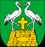 detail of the coat of arms for Karnice, Poland