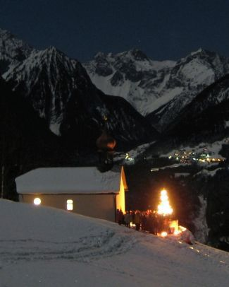 Midnight Mass on the night from 24 to 25 December 2007 in Mountain Plot Laz in Nüziders, Austria; photographed on 25 December 2007 by Stevoeg; swiped from Wikimedia Commons