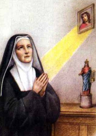 detail from an antique Italian holy card of Venerable Giacinta Gertrude Maurizi, date and artist unknown; swiped from Santi e Beati
