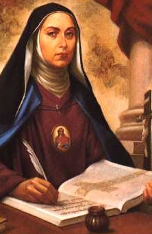 detail of a devotional illustration of Venerable Giulia Crostarosa, c.1910, artist unknown; swiped from Wikimedia Commons; click for source image