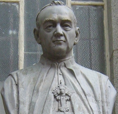 bust of Venerable Miguel Ángel Builes Gómez, date and artist unknown; entrance of the parish church of Donmatias, Antioquia, Colombia; photographed on 1 May 2009 by SajoR; swiped from Wikimedia Commons