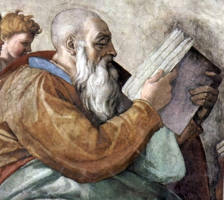 detail from the Sistine Chapel painting of Zacharius the Prophet by Michelangelo