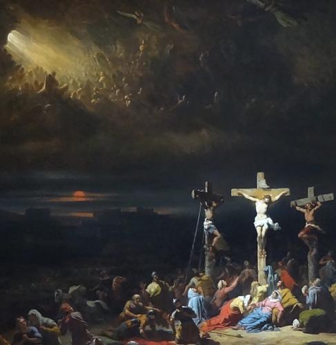 detail of the painting 'Le dernier soupir du Christ' (Christ's last breath), by Julien Michel Gué, 1840; Musée des beaux-arts d'Amiens, France; photographed on 8 June 2017 by Grégory Lejeune; swiped from Wikimedia Commons