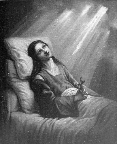 painting of Thérèse de Lisieux on her deathbed; from a prayer card issued on the occasion of her canonization in 1925 with no attribution