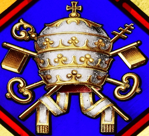 stained glass papal tiara