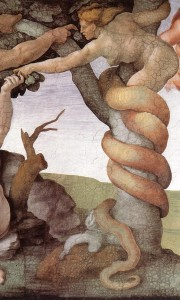 detail from 'The Fall and Expulsion from Garden of Eden', a fresco on the Cistine Chapel, Vatican; by Michelangelo Buonarroti, 1509-1510