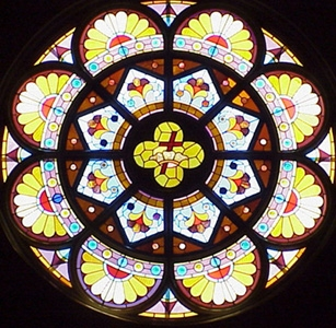 rose window in the Immaculate Conception church, Earlington, KY