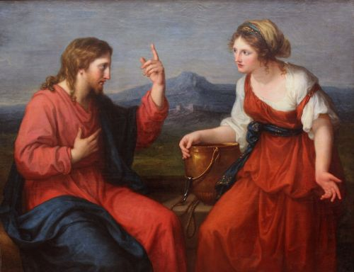 'Christ and the Samaritan woman at the well', by Angelica Kauffman, 1796; Neue Pinakothek museum, Munich, Germany; swiped from Wikimedia Commons