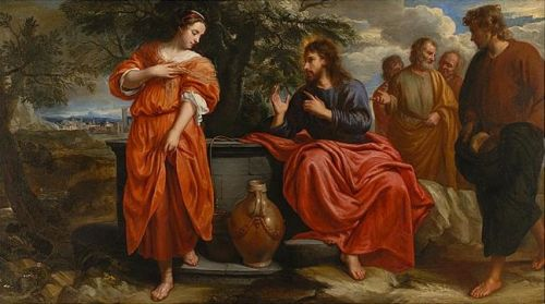 'Christ and the Samaritan Woman at the Well', by Jacob van Oost, 1668; swiped from Wikimedia Commons