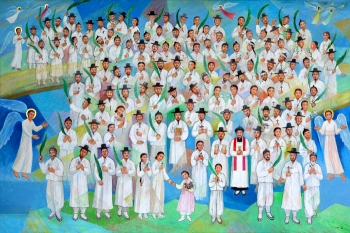 'People Who Open the Light of Dawn', by Kim Young-joo, a portrait of the 124 Martyrs of Korea, unveiled at their beatification recognition