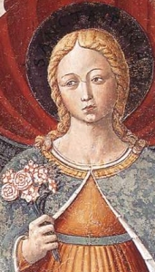 detail from the fresco 'Saint Fina', by Benozzo Gozzoli, 1465, Apsidal Chapel of Sant' Agostino, San Gimignano, Italy