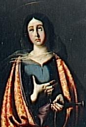 detail from the painting 'Saint Engracia' by Francisco de Zurbaran, Museum of Fine Arts, Seville, Spain