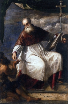 detail of a painting of Saint John the Almoner; by Titian, c.1545; San Giovanni Elemosinario, Venice, Italy; swiped from Wikimedia Commons; click for source image