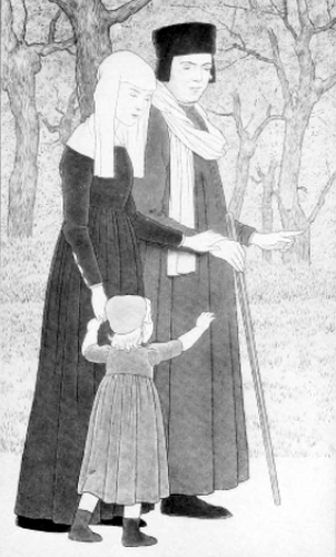 Francis Bernadone, as a child, walking with his parents