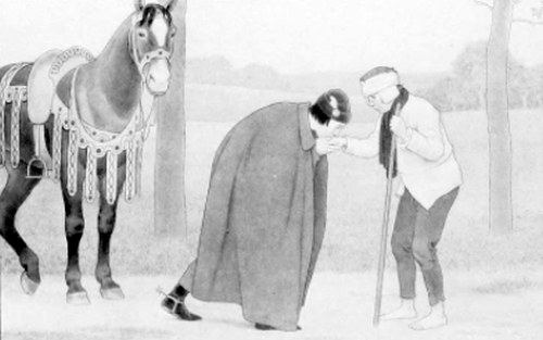 Francis kissing the hand of a leper
