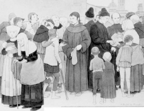 Saint Francis distributing gold to the poor of Assisi