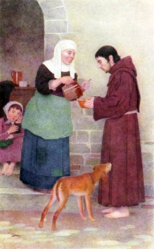 Saint Francis receiving food from a peasant woman in Assisi