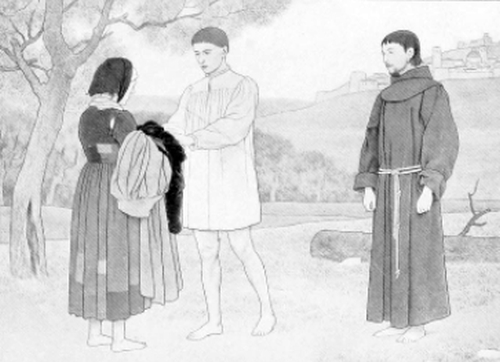 Brother Giles giving his clothes to a beggar woman