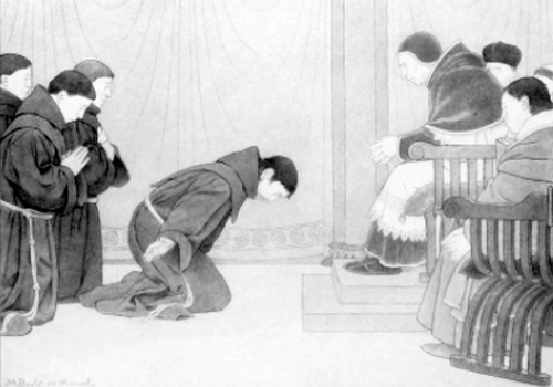 Saint Francis receiving permission to preach repentance from Pope Innocent III