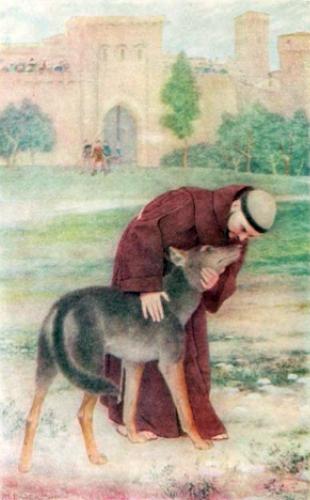 Saint Francis subjugating the wolf of Gubbio