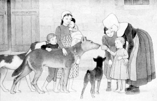 Children of Assisi feeding the wolf of Gubbio