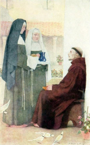 Saint Clara and her sister waiting on Saint Francis