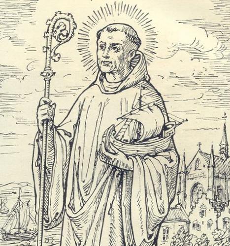an engraving of Saint Idesbald, artist unknown; taken from the book 'L'ordre de Citeux en Belgique', 1926
