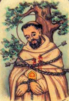 detail of an antique holy card of Blessed Juan Vargas by Bertoni, date unknown