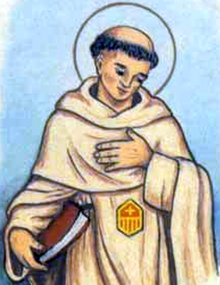 detail of an antique holy card of Blessed Ponzio of Barellis by Bertoni, date unknown; swiped from Santi e Beati