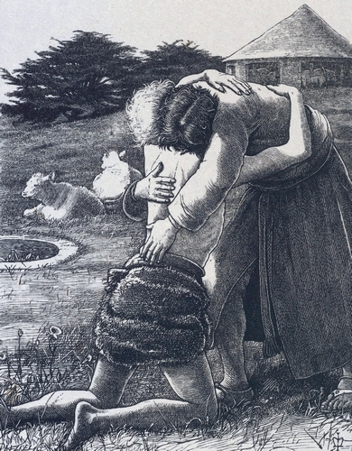 a wood engraving print of The Prodigal Son being received by his father; by John Everett Millais, 1864; Metropolitan Museum of Art, New York, New York; image swiped from Wikimedia Commons