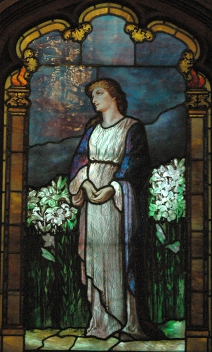 detail of an Easter-themed stained glass window, date and artist unknown; Christ Church, Waltham, Massachusetts; photographed on 14 December 2005 by Mbalulescu; swiped from Wikimedia Commons