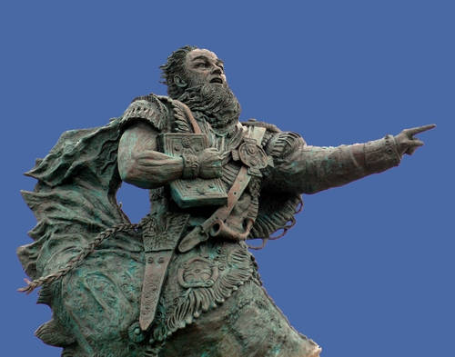 detail of a statue of Saint Brendan of the Gael, date and artist unknown; it stands in Fenit, County Kerry, Ireland; photographed on 1 June 2013 by McCharco; image swiped from Wikimedia Commons