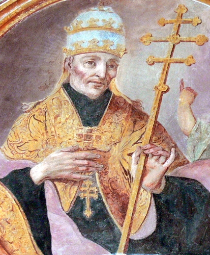 detail of an 18th century fresco of Pope Saint Gelasius II, artist unknown; Saint Augustine church, Rattenberg, Tyrol, Austria; photographed on 20 August 2010 by Wolfgang Sauber; swiped from Wikimedia Commons