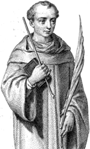 detail of an illustration of Saint Abbot of Fleury by Father J B Paridac, 1872