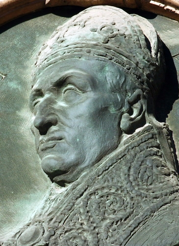 detail of a effigy bas-relief of Saint Abbondio of Como, date and artist unknown; church of San Siro, Lomazzo, Italy; photographed on 18 October 2002 by Alberto Monti; swiped from Wikimedia Commons